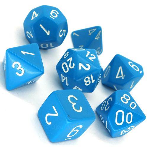 Chessex 7-Die Set Opaque Light Blue/White