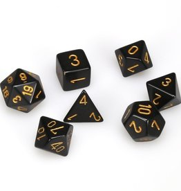 Chessex 7-Die Set Opaque Black/Gold