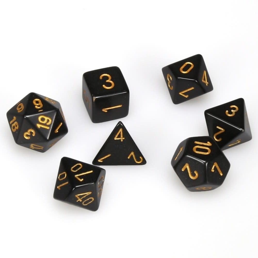 Chessex 7-Die Set Opaque Black/Gold