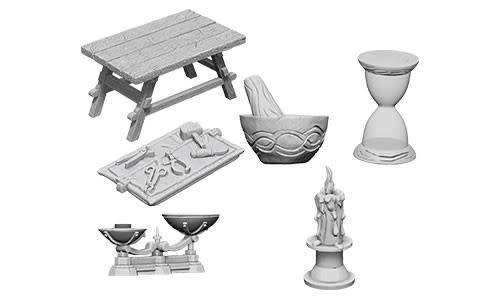 WizKids WizKids Deep Cuts Unpainted Miniatures: W5 Workbench & Tools