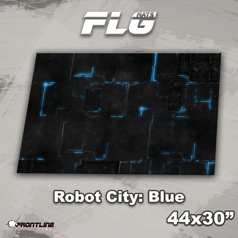 "Frontline-Gaming FLG Mats: Robot City 1: Blue 44"" x 30"""