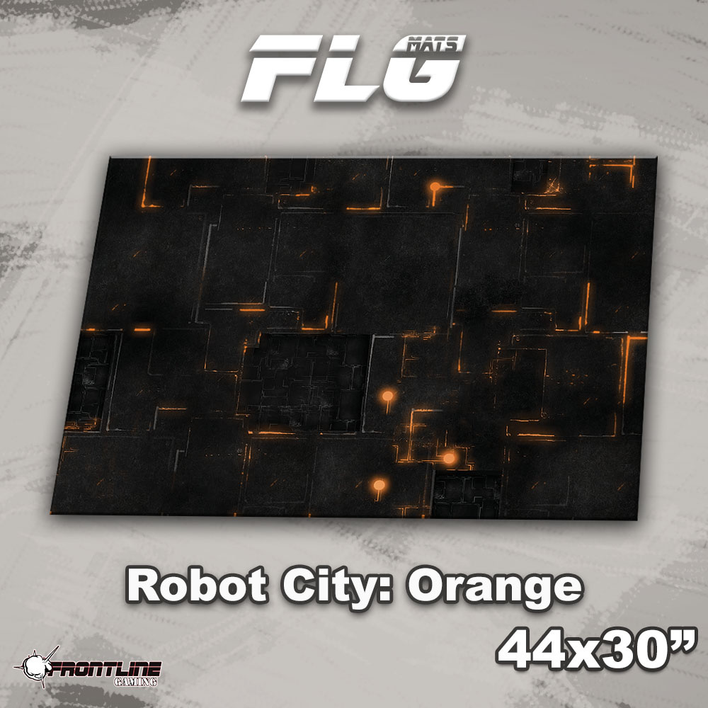 "Frontline-Gaming FLG Mats: Robot City 1: Orange 44"" x 30"""