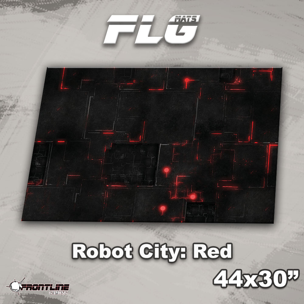 "Frontline-Gaming FLG Mats: Robot City 1: Red 44"" x 30"""