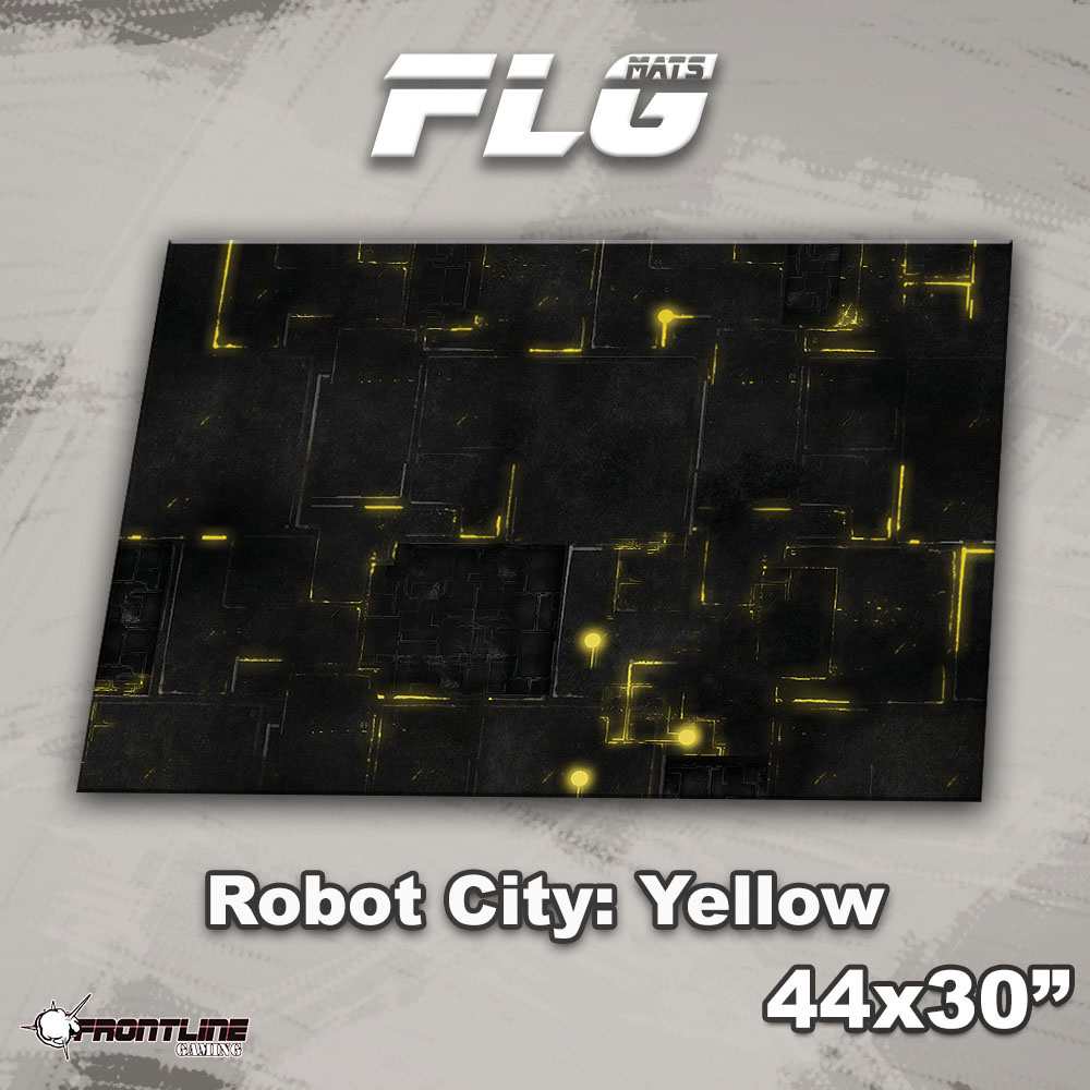 "Frontline-Gaming FLG Mats: Robot City 1: Yellow 44"" x 30"""