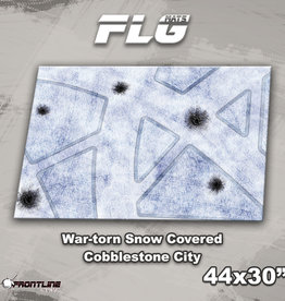 "Frontline-Gaming FLG Mats: War-Torn Snow Covered Cobblestone City 1 44"" x 30"""