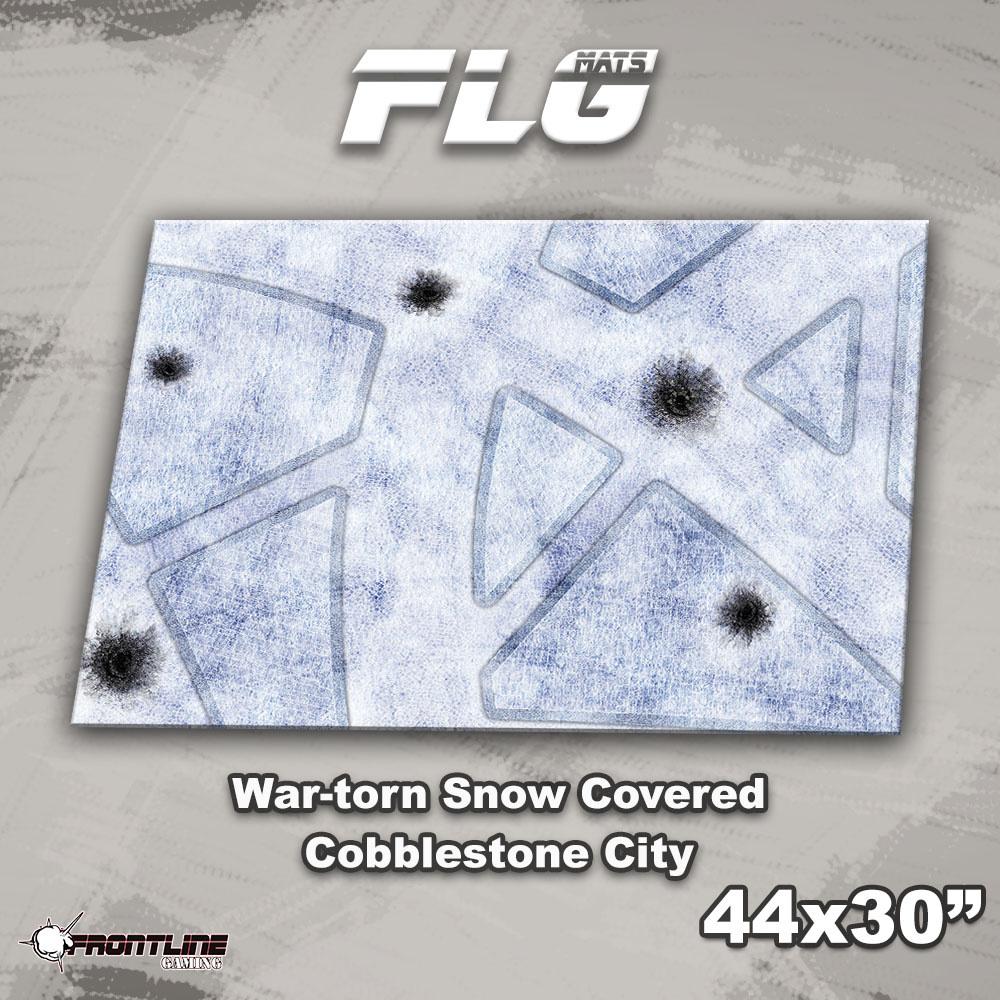 "Frontline-Gaming FLG Mats: War-Torn Snow Covered Cobblestone City 1 44"" x 30"""