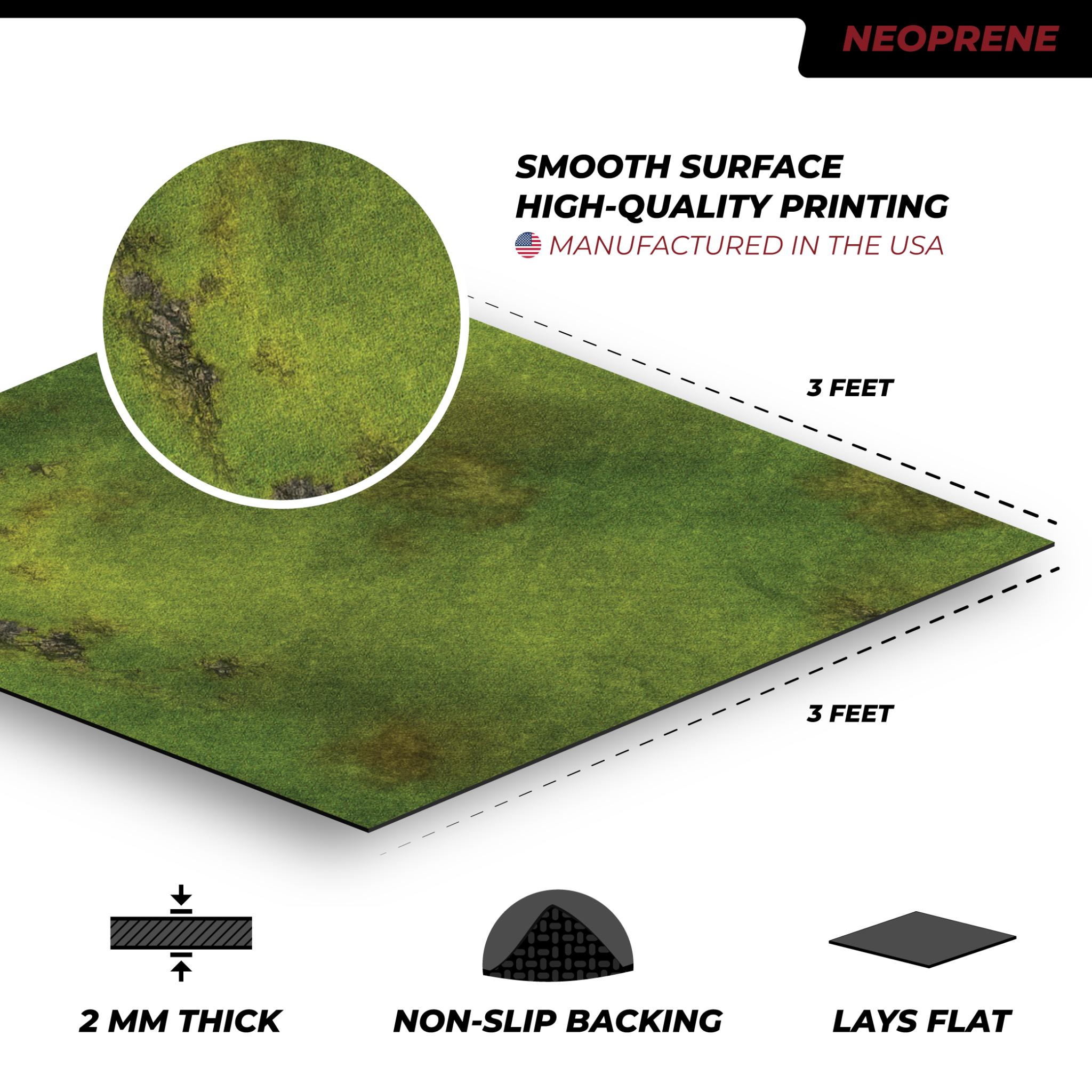 Frontline-Gaming FLG Mats: Grasslands 1 3x3'