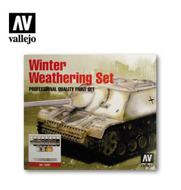 Vallejo Model Color Set: Winter Weathering (9) + 2 Brushes, 17 ml.