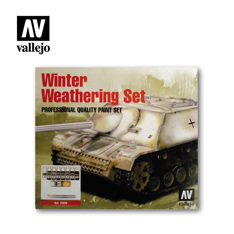 Vallejo Model Color Set: Winter Weathering (9) + 2 Brushes, 17 ml.