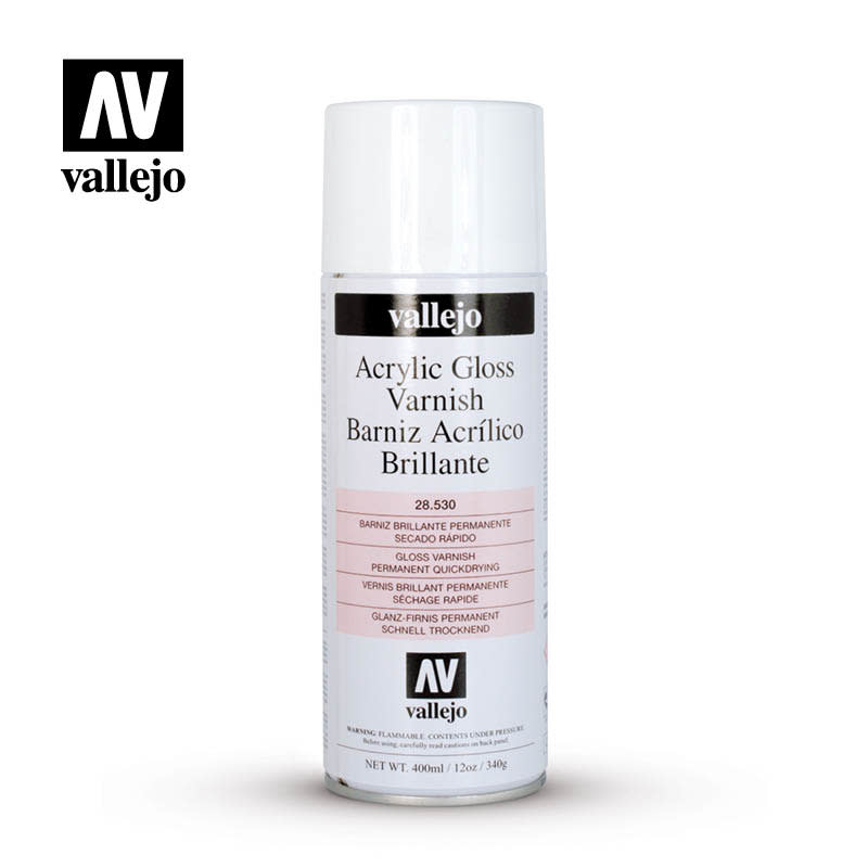 Vallejo Varnish: Aerosol- Gloss Varnish, 400 ml.