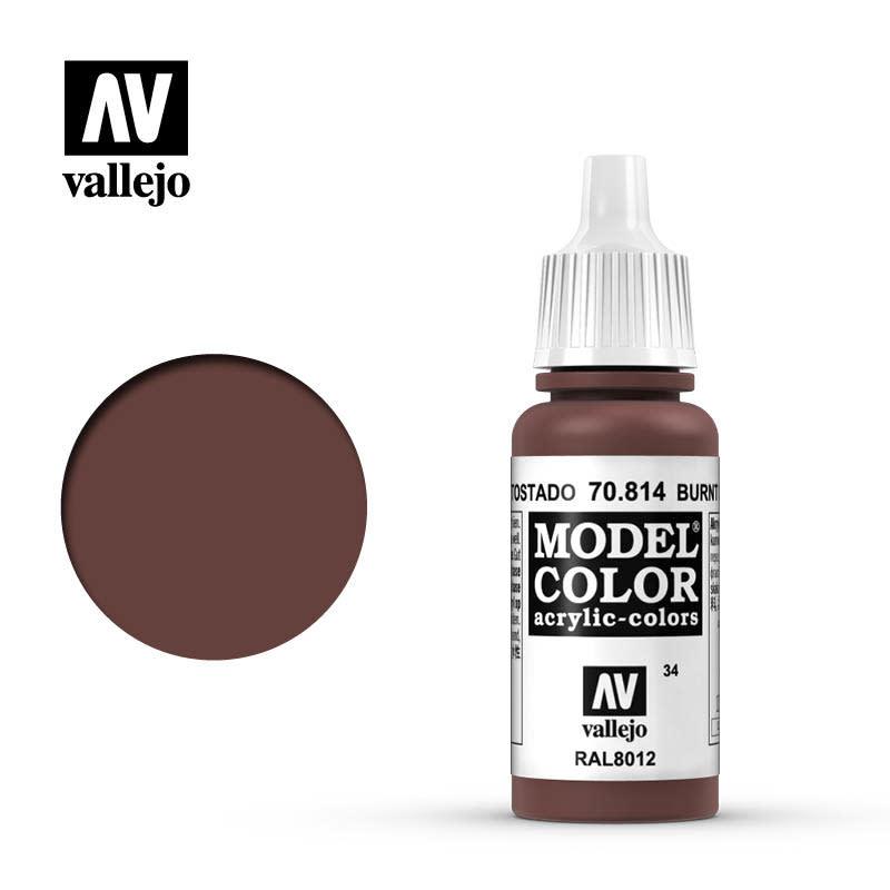 Vallejo Model Color: Matte- Burnt Red, 17 ml.