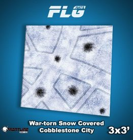 Frontline-Gaming FLG Mats: War-torn Snow Covered Cobblestone City 1 3x3'