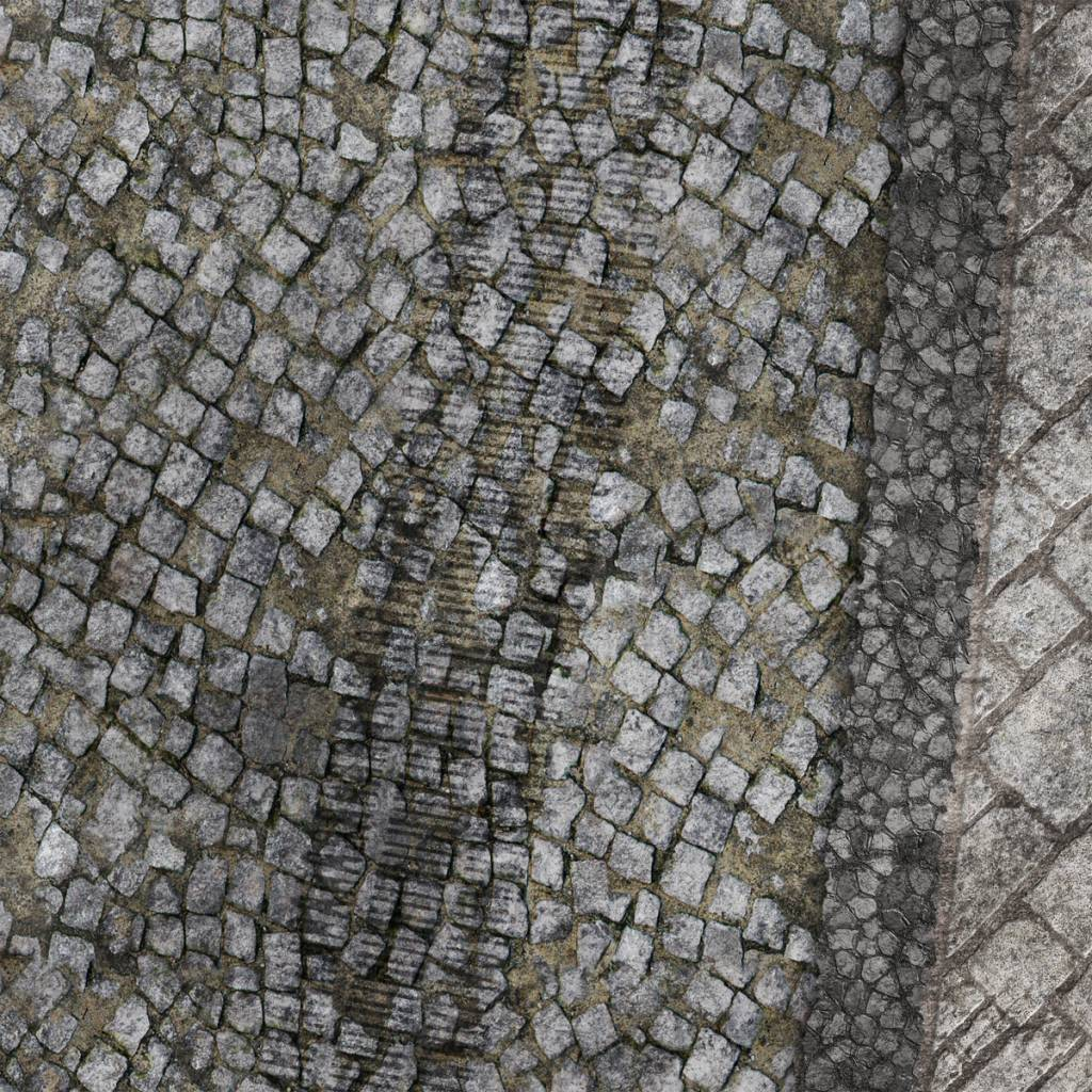 Frontline Gaming FLG Mats: War-torn Cobblestone City 1 3x3'