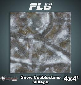 Frontline-Gaming FLG Mats: Snow Cobblestone Village 4x4'