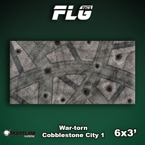 Frontline Gaming FLG Mats: War-torn Cobblestone City 1 6x3'