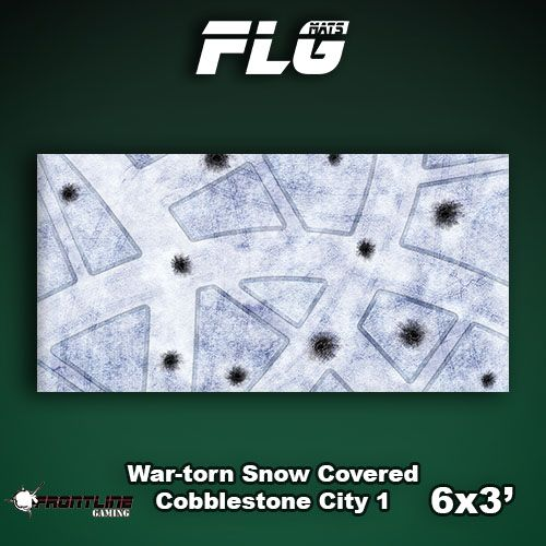Frontline Gaming FLG Mats: War-torn Snow Covered Cobblestone City 1 6x3'