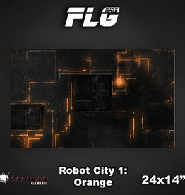 "Frontline Gaming FLG Mats: Robot City Orange 24"" x 14"""