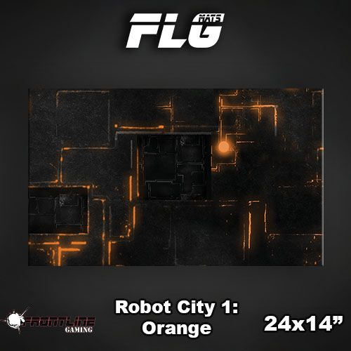 "Frontline-Gaming FLG Mats: Robot City Orange 24"" x 14"""