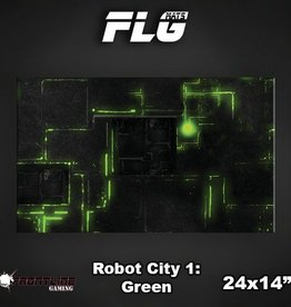 "Frontline Gaming FLG Mats: Robot City Green 24"" x 14"""
