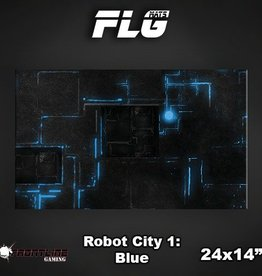 "Frontline-Gaming FLG Mats: Robot City Blue 24"" x 14"""