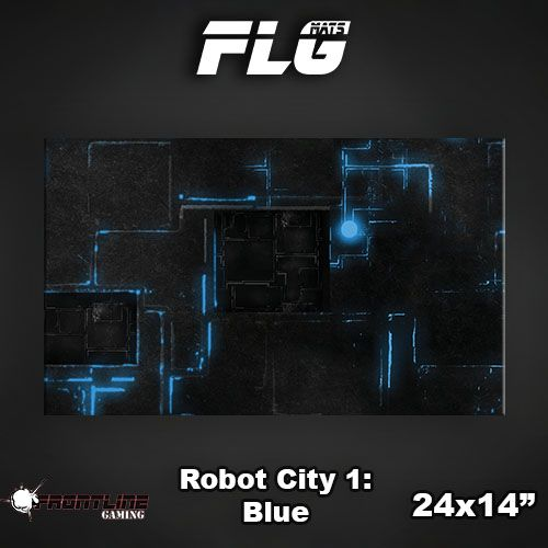 "Frontline Gaming FLG Mats: Robot City Blue 24"" x 14"""