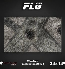 "Frontline Gaming FLG Mats: War-torn Cobblestone City 24"" x 14"""