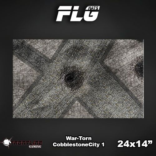 "Frontline Gaming FLG Mats: War-torn Cobblestone City 24"" x 14"""