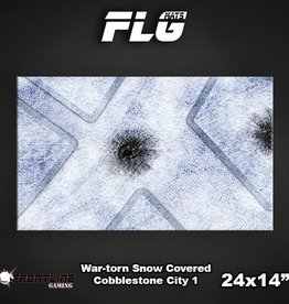 "Frontline Gaming FLG Mats: War-torn Snow Covered Cobblestone City 24"" x 14"""