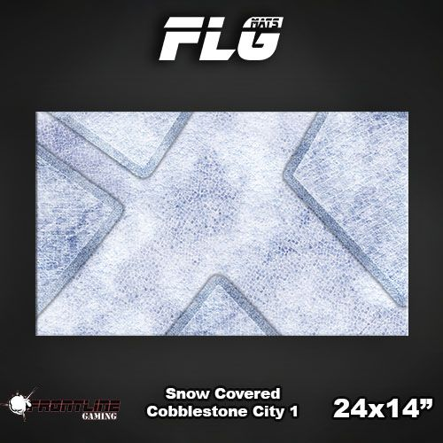 "Frontline-Gaming FLG Mats: Snow Covered Cobblestone City 24"" x 14"""