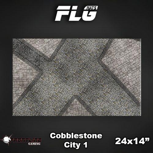 "Frontline Gaming FLG Mats: Cobblestone City 24"" x 14"""