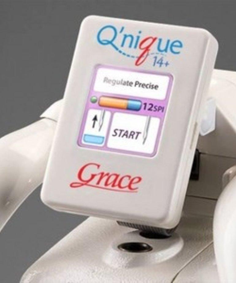 """Grace Grace 8-10' Continuum Metal Quilting Frame +Qnique 15R 15x8"""" Longarm Machine +QCT5 Quilt Motion PRO Software & Robotics, Overhead Light Bar, Laser"""