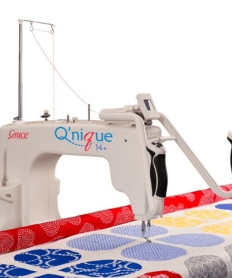 "Grace Grace 8-10' Continuum Metal Quilting Frame +Qnique 15R 15x8"" Longarm Machine +QCT5 Quilt Motion Beginnings Software and Robotics, Overhead Light Bar"