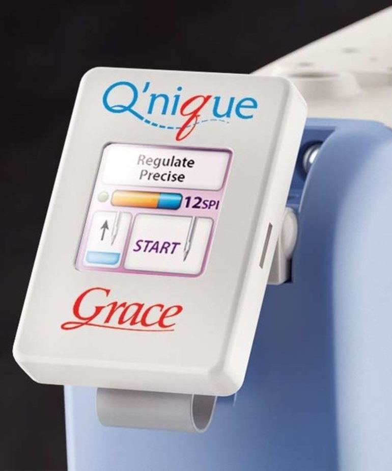 Grace Qnique Q19-RE Recertified New Warranty Longarm Quilting Machine, Dual Track Wheels, Stitch Regulation, Encoders, Front Handles, Control Panel, 2000SPM
