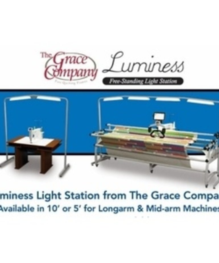 Grace  0111961 Luminess 5'+ LED Floor Lamp Overhead Light Bar on Casters, On Off, Adj Height for Sewing Cabinets Tables, Quilting Frames, Work Stations