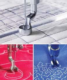 """Grace Hopping Foot Upgrade 3Pc Set for Qnique 19 or 21"""" or 21Pro Longarm Quilting Machines, Includes Open Toe Foot, Ruler Foot, Micro-Stippling Foot"""