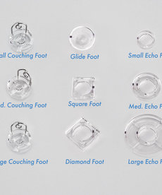 """Grace Hopping Foot Upgrade 9 Pc. Set for Qnique 15, 19 or 21"""" Longarm Quilting Machines 3 Couching Feet, Large-Small Echo Feet, Glide Foot, Squar"""