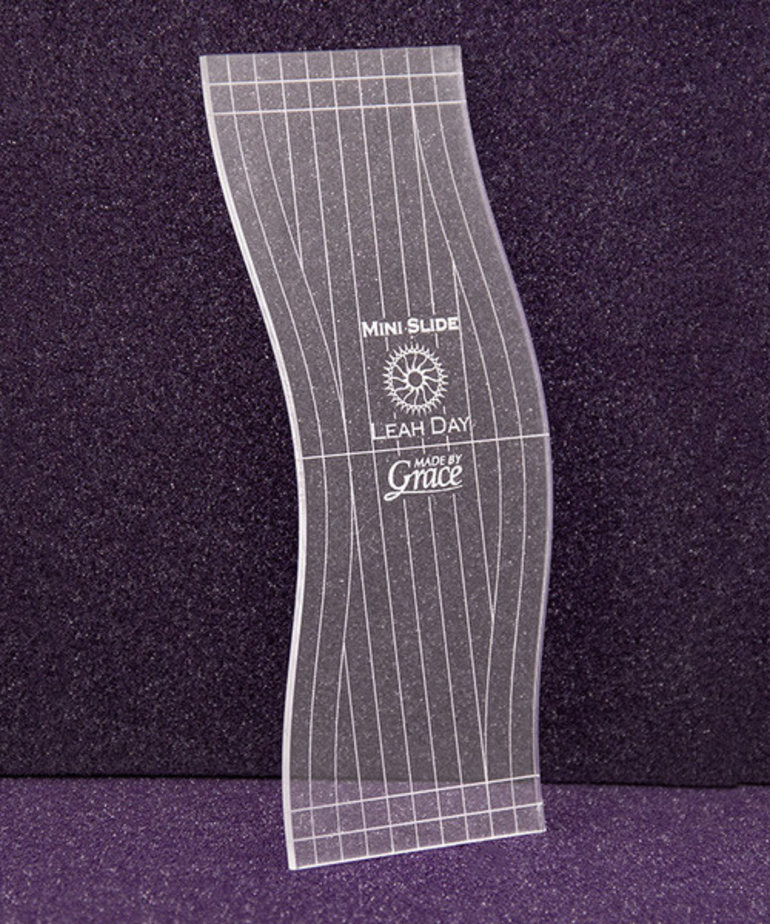 Grace Grace MQRT Machine Quilting Ruler Template, Choose One: Slice Ruler, Mini, or Super Slide Ruler, 1/8in Thick Home or 1/4in Thick Longarm, by Leah Day
