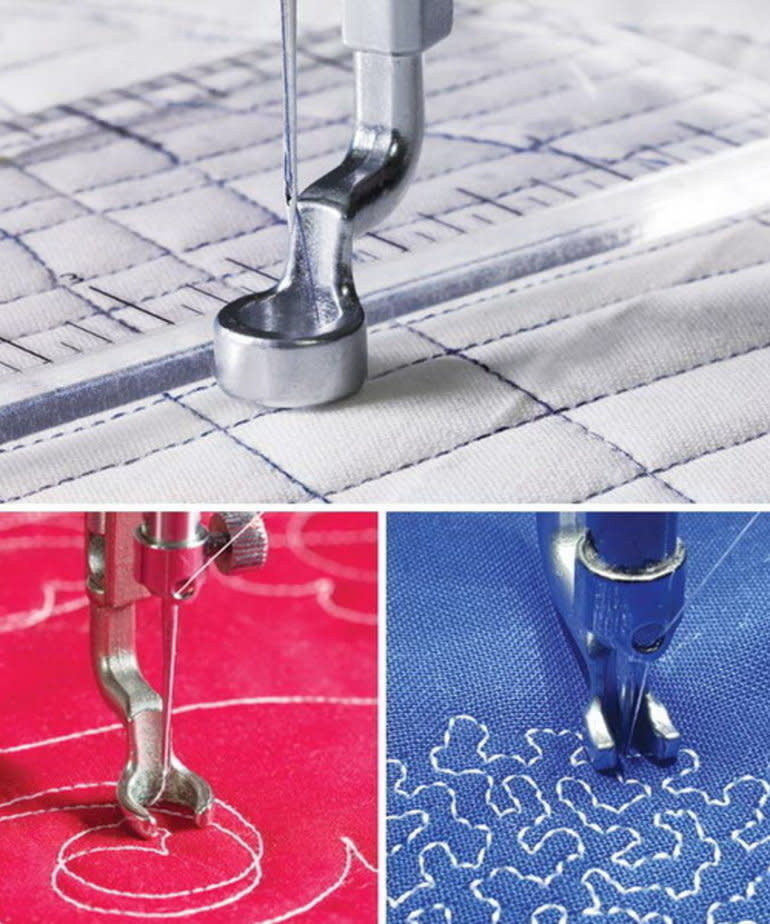 """Grace Grace Hopping Foot Upgrade 3Pc Set for Qnique 19 or 21"""" or 21Pro Longarm Quilting Machines, Includes Open Toe Foot, Ruler Foot, Micro-Stippling Foot"""