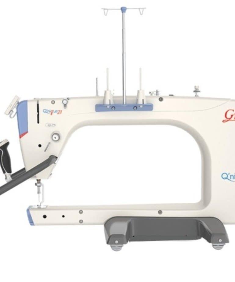 Grace Grace Qnique Q21 Longarm Quilting Machine Head w/4V-track Dual Rollers, Stitch Reg, Encoders, Front Handles, Display Panel