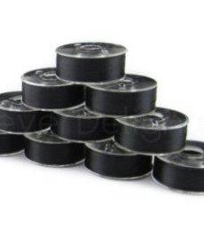 NEBS NEBS plastic sided prewound L bobbin 10 pack black