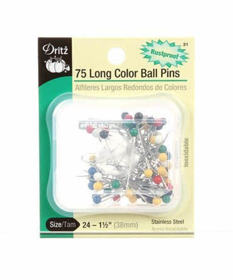 Checker Long Color Ball Head Pin Size 24 - 1 1/2in 75ct