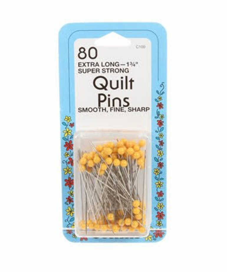 Checker Quilting Yellow Head Pin Size 28 - 1 3/4in 80ct