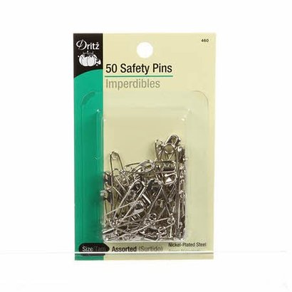 Checker Safety Pin Nickel Assorted SZ 50ct