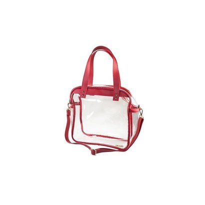 Carryall Tote - Clear PVC with Red