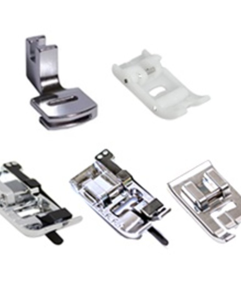 Brother 5 Feet Package-Ditch Foot, Roller Foot, Piping Foot, Edge Joining Foot, and Gathering Foot