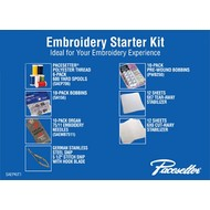 Brother EMBROIDERY STARTER KIT contains: 1 Polyester thread 6-pack, 1 set embroidery needles, 1 (10 pack bobbins - SA156), 1 (10-Pack PWB250) Pre-Wound Bobbins, 9x7 Tearaway Stabilizer (12 sheets), 6x6 Cutaway stabilizer (12 sheets), 1 pair of German Stainless St