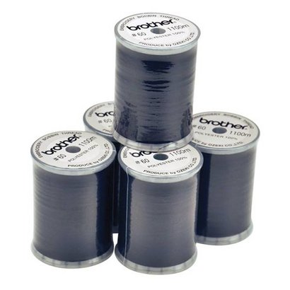 Brother Embroidery Thread - Black color (box of 5 spools) 1200 yds.60 wt