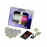 Brother SEWING STARTER KIT contains: 1 XP Poly Core/Poly Wrap thread 6-pack (440 Yards), 1 set of universal needles, 1 (clear-view foot SA145), 1 (SA150 pearl and sequins foot), 1 (SA157 cording foot), 1 (10 pack bobbins -SA156). a $69.99 VALUE! Must be Ordered