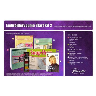 Brother Embroidery Starter Kit 2 includes Snap Hoop 5 X 7, Magna Hoop Jumbo 8 X 8, Embroidery Tool Kit, Perfect Placement Kit, Eileen Roche's Hoop and Go Kit CD for Brother, SAEP706 Pacesetter Embroidery Thread