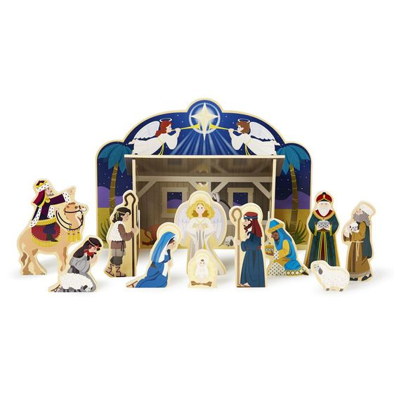 Melissa & Doug Wooden Christmas Nativity Set
